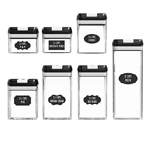 Ashley GAO 7 unids/set frasco hermético transparente tarro de plástico esmerilado tapa negra y botón blanco granos almacenamiento tarro