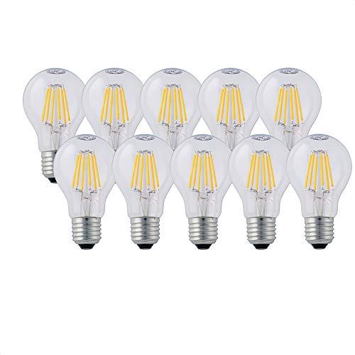 Hellum LED Lampe, LED Filament dimmbar, E27 Sockel, Warmweiß 2700 K, 7 W, klar, 10er-Pack, 206517
