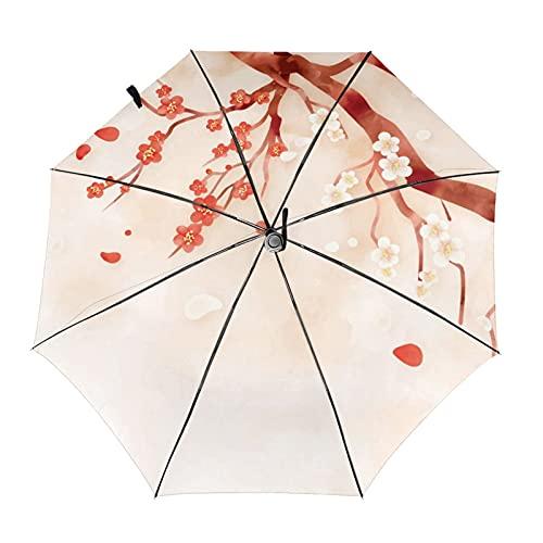 Ziayai Paraguas automático plegable resistente al viento para mujer, color ciruela y flor de pintura china, paraguas a prueba de viento, lluvia para hombres (color: interior Print2)