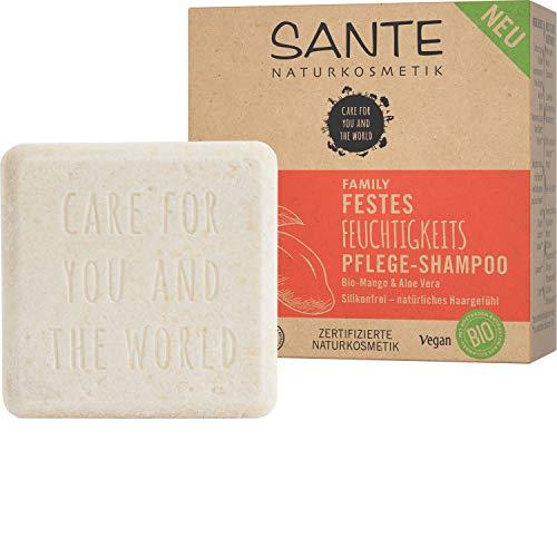 Bio Shampoo Bar von SANTE Naturkosmetik, Feuchtigkeits Festes Shampoo für trockenes Haar, Mit Bio-Aloe Vera und Mango, Wie eine Haarseife, Zertifiziert & Vegan, 60 ml