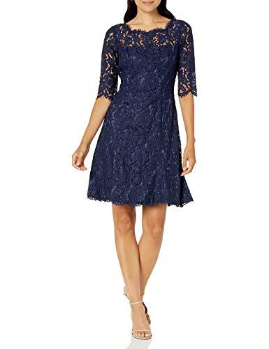 Eliza J Women's Quarter Length Sleeve Fit and Flare Dress, Navy, 10