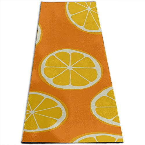 Yoga Zeal Mat Pattern Cutted Oranges Personalized Printing Thick Non-Slip Anti-Tear High Density Lightweight with Carrying Strap Storage Pockets Foldable Yoga Mat