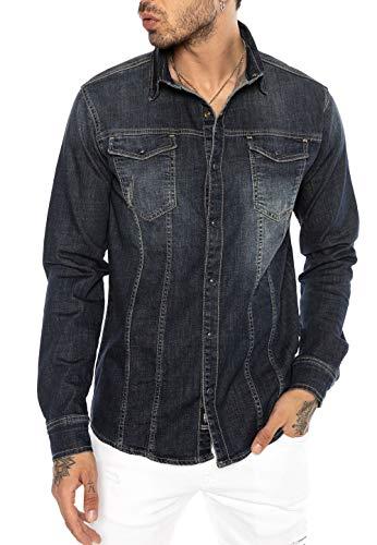 Redbridge Męska koszula dżinsowa na czas wolny, styl premium, denim, ścieg pionowy
