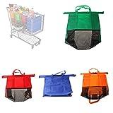 Bolsa reutilizable para carrito de compras, juego de 4 bolsas para carrito de compras normal de supermercado, bolsas para alimentos fríos o calientes