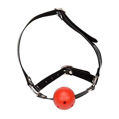 Open Damen Rot mit Löchern Mund Plug Leder Harness