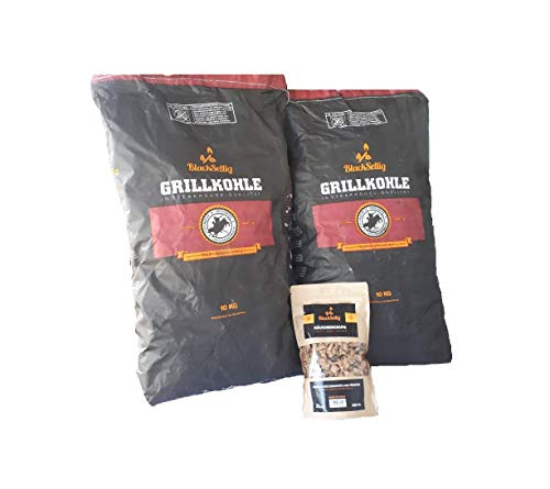 BlackSellig 20 Kg Steakhousekohle 360 gr. Smokerchips in 4 verschiedenen Aromen -perfekte Profiqualität