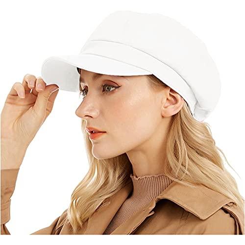 Newsboy Cap for Women Cabbie Hat 100% Cotton Plain Blank 8 Panel Gatsby Apple Cap Hat Summer White