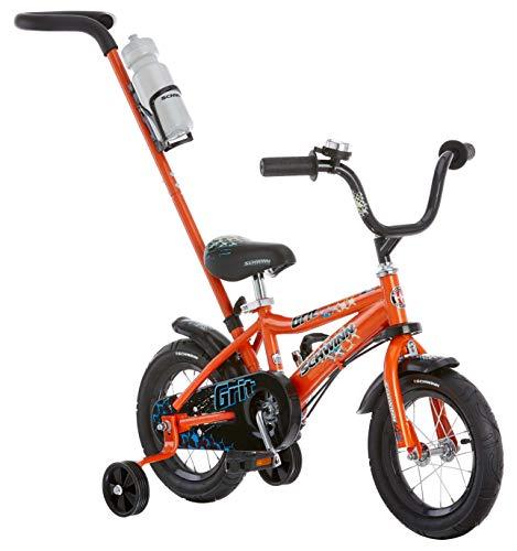 Schwinn Grit Steerable Kids Bikes,12-Inch Wheels, Quick-Adjust Seat,Training Wheels, Push Handle for Easy Steering, Orange/Black