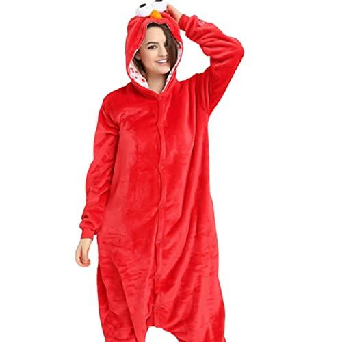 AOQILN Pijamas Personalizados Papel de Barrio Sésamo Pijamas de una Pieza Ropa Informal y cómoda Suave para el hogar Regalos para Fiestas navideñas L Rojo