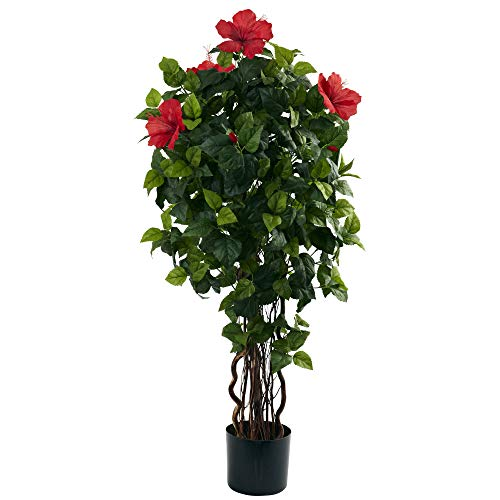 Nearly Natural 4' Hibiscus Artificial Tree, 4ft, Green