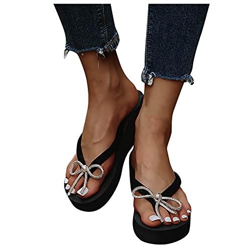 BIBOKAOKE Plateau Sandalen Damen Flip Flops Zehentrenner Sandal Lässige Flache Sandalen mit Schleife Strass Badelatschen rutschfest Pantoffeln Hausschuhe Strandschuhe Sommerschuhe
