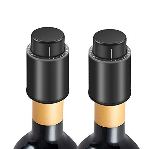 Guiseapue Weinflaschenverschlüsse, Champagnerverschlüsse,Vakuum-Weinkonserven mit Zeitskala, Wein korken frisch halten, Weinliebhaber (2er Pack)