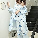Pajamas Nightwear Women Pajamas 3 Pieces Satin Sleepwear Silk Home Wear Home Clothing Embroidery Sleep Lounge Pyjamas Set L Color18