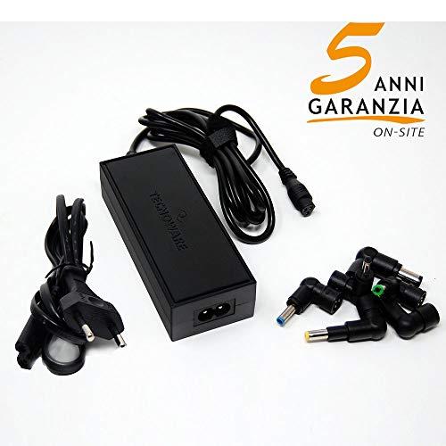 Tecnoware Alimentatore Universale compatto, per Notebook ed Ultrabook, 95 W, Trasformatore PC con 6 Connettori, Nero
