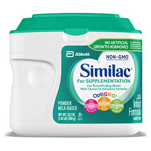 Similac For Supplementation, 4 Tubs, Gentle Non-GMO Infant Formula, for Breastfed Babies, with Prebiotics, Supports Brain & Eye Development, Powder, 23.2-oz each