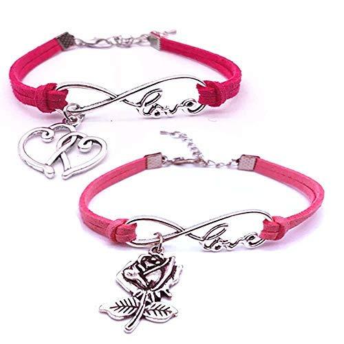 SataanReaper Presents Las Capas Dobles Rojos Y Rosados Cuerda De Cuero De Los Brazaletes para Niños Y Niñas con Sterling Silver Heart Y Rose Charm #SR-859