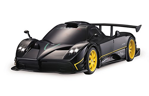 JAMARA 405140 - Pagani Zonda R 1:14 27MHz - RC Auto offiziell lizenziert bis 1 Std Fahrzeit ca 11 Kmh perfekt nachgebildete Details detaillierter Innenraum hochwertige Verarbeitung LED, schwarz