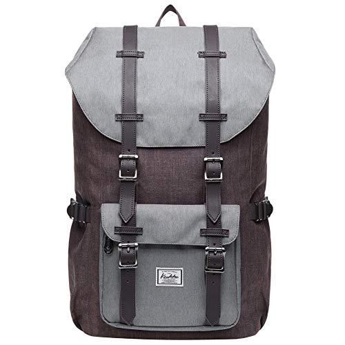KAUKKO Rucksack Damen Herren Schön und Durchdacht Daypack mit Laptopfach für 15 Zoll Notebook für Schule,Uni, 20L, Coffee