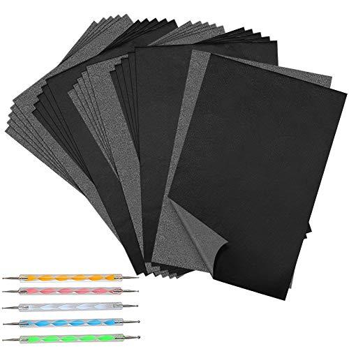LUCY WEI 100 Blatt A4 Carbon Kohlepapier, Graphitpapier und Pauspapier mit 5 Pcs Embossing Stylus, Durchschlagpapier für Holz, Papier, Leinwand(8.26 X 11.8 Zoll)