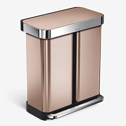 simplehuman 58 Liter / 15.3 Gallon Rectangular Hands-Free Dual Compartment Recycling Kitchen Step Can, Rose Gold Stainless Steel