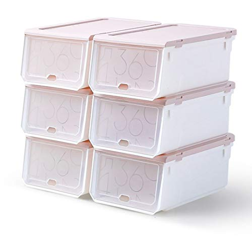FLM Cajas de Almacenaje Plegable - Juego de 6 Cajas de Zapatos Transparente Apilables 33 x 22.5 x 14 cm para Hombre y Mujer