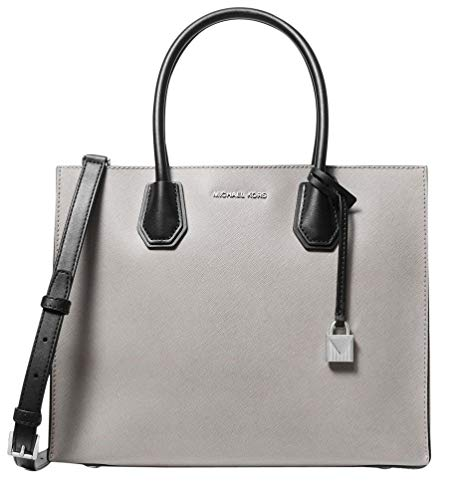 """Pearl Grey/Optic White/Black saffiano leather. Open top. Silver-tone hardware. Exterior features logo lettering and hang charm. 6.5"""" double handles drop. Bag converts from tote to crossbody by attaching strap, 25"""" drop. Interior Details: Center Zip C..."""