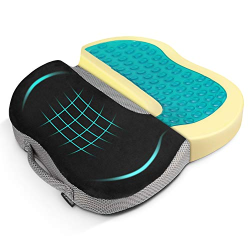 Levesolls Coccyx Cushion Orthopedic Cushion Memory Foam Orthopedic Seat Cushion with Cool Gel for Back Tailbone and Sciatica Pain Relief, Office Car Wheelchair Use