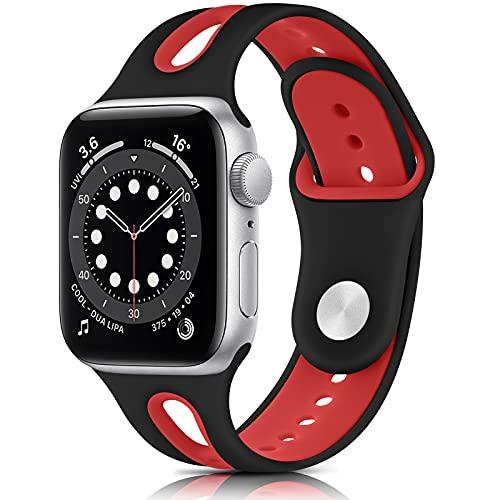 QINKU Silicona Correa Compatible con Apple Watch 38mm 42mm 40mm 44mm, Pulseras de Repuesto Deportivo Suave Silicona para iWatch Series 6 5 4 3 2 1 SE,Hombre y Mujer (42mm/44mm M/L, Negro rojo)