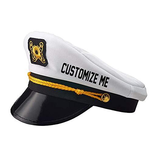 Custom Text Captain Hat Name Gift for Skipper Sailor Boating Adjustable White