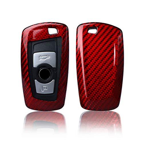 Kwak's Couverture de clé de Voiture Compatible pour BMW 1 série 2 série 3 série 4 série 5 série 6 série X3 X4 clé de Voiture Étui pour clé en Fibre de Carbone,Rouge