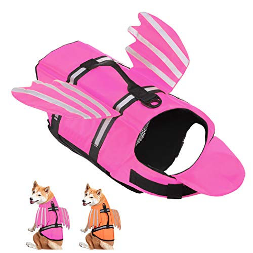 AOFITEE Dog Life Jacket Pet Life Vest, Reflective Safety Doggy Lifesaver Preserver with Lovely Wings and Rescue Handle, Ripstop Swimming Vest for Small Medium and Large Dogs (Pink XL)