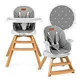 MoMi Woodi - Trona 3 en 1 para bebés y niños de 6 a 36 meses de vida (máx. 15 kg de peso corporal, 83 x 60,5 x 104 cm, peso 11,3 kg, cinturón de seguridad de 5 puntos, trona 360°), color gris