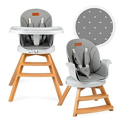 MOMI WOODI Trona 3 en 1 para bebés y niños de 6 a 36 meses (peso corporal máx.15 kg | 83 x 60,5 x 104 cm, peso 11,3 kg, cinturón de seguridad de 5 puntos, trona 360 ° | Gris