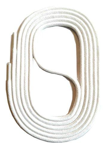 SNORS runde Schnürsenkel GEWACHST WEISS 90cm, Ø2,5mm, Baumwolle, Rundsenkel für Business, Anzug- und Lederschuhe, reißfest, Made in Germany