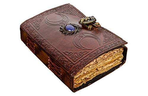 Vintage Leather Journal with Semi Precious Stone Triple Moon Design- Lock Closure, 200 Pages Antique Deckle Edge Paper - Book of Shadows, Grimoire Journal, for Men and Women - 7' x 5'