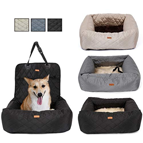Moniki 2-in-1 Autositz und Bett für Hunde, wasserfest und rutschfest, Sitzerhöhung für Katzen, abnehmbarer Bezug und Kissen