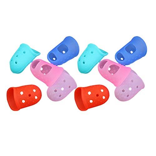 Toyvian 10 pcs Fingerschutz Rutschfest Silikon Fingerhülle für Gitarre Spielen Klebstoffe Wachs Harz Nähen Kochen (Zufällige Farbe)