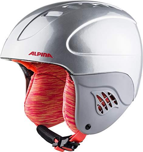 ALPINA Unisex - Kinder, CARAT Skihelm, silver-flamingo, 51-55 cm