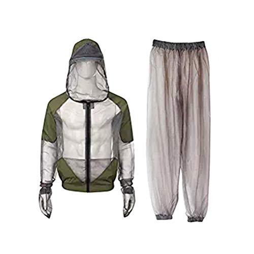 LIOOBO Moskito Anzug Mesh Mückenschutz Kleidung Kapuzenanzug Hosen für Outdoor Camping Angeln Jagd Größe M (Grau)