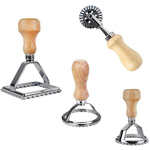 4 Stück Ravioli Stempel Set, Ravioli Pasta Nudel Ausstecher, Form für Maultaschen Nudeln Empanadas Tortellini, Premium Ravioli Ausstecher Set, mit Holzgriff, Küchenaufsatz