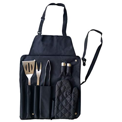 joeji\'s Kitchen Juego de 7 Utensilios Barbacoa Premium con Delantal para Parrilla Barbacoa | Accesorios Barbacoa de Acero Inoxidable | Kit Barbacoa de máxima Calidad