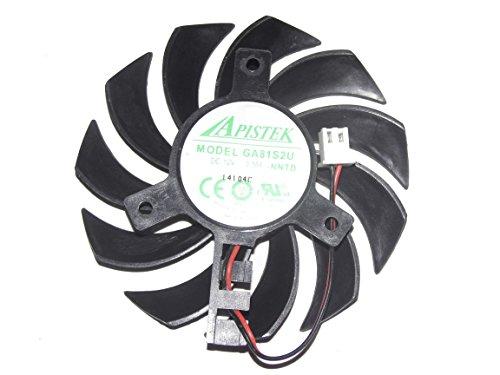 Apistek 75mm Ga81s2u–Nntb 0,38A 12V 2fils ventilateur de carte graphique