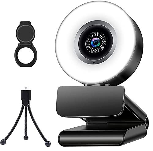 Webcam per PC con luce e microfono, MONODEAL HD videocamera per computer con messa a fuoco automatica, luminosità regolabile, webcam USB per zoom Skype FaceTime, desktop PC Mac laptop