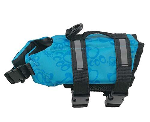 Markcur Reflektierende Schwimmweste für Hunde Outdoor Kleidung für kleine mittel große Hunde Rettungswesten Schutzkleidung Hundetraininganzug Schwimmweste XS-Blau