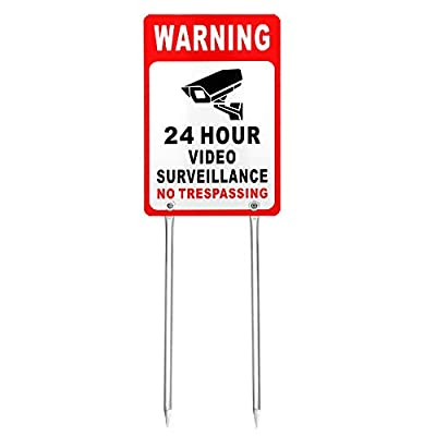 """Kichwit Video Surveillance Sign No Trespassing Reflective Metal Sign, Double Sided Aluminum Yard Sign with Stakes Included, Measures 11.8"""" x 7.9"""""""