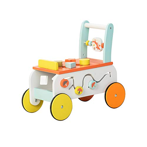 labebe - Baby Walker, Push Along Wooden Toy, Pull Along Wagon, 2-in-1 Baby Walker for Girl&boy 6 Months, Toddler Mobility Wooden Walker, Infant Push Toy, Kid First Step Walker, Birthday Gift - Fox