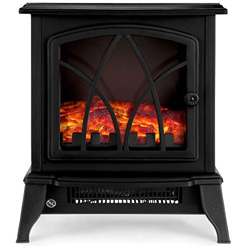 NETTA Electric Fireplace Stove Heater 2000W with Fire Flame Effect, Freestanding Portable Electric Log Wood Burner Effect