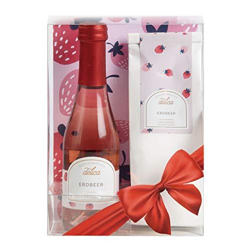 Laux Erdbeer Geschenkset mit 130g Erdbeer Tee und 200ml Erdbeer Secco, in schöner Verpackung zum Verschenken