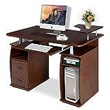 COSTWAY Computertisch Schreibtisch Bürotisch Arbeitstisch PC-Tisch mit Tastaturauszug Druckerablage...