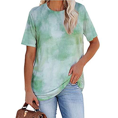 Auifor Tie-Dye Camo Basic T-Shirt, Frauen Casual Sommer T-Shirt, lässig O-Ausschnitt Kurzarm T-Shirts